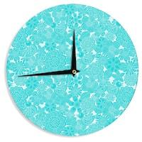 KESS InHouse Julia Grifol 'Turquoise Birds' Aqua Blue Wall Clock