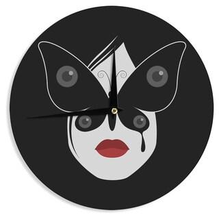 KESS InHouse Thomas Fuchs 'Butterfly Eyes' Black White Wall Clock