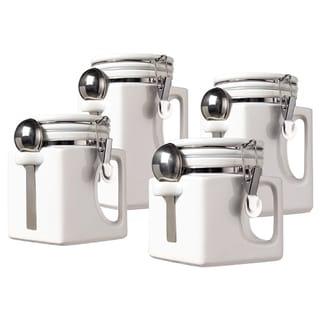 Oggi Corporation 5336.1 White Ceramic EZ Grip Handle Canister Set 4-count