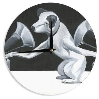 KESS InHouse Thomas Fuchs 'History of the DJ' Gray Black Wall Clock