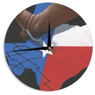 KESS InHouse Thomas Fuchs 'Lone Star' Red Blue Wall Clock
