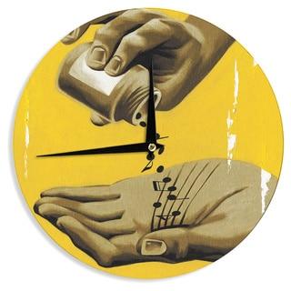 KESS InHouse Thomas Fuchs 'Music as Medicine' Yellow Brown Wall Clock