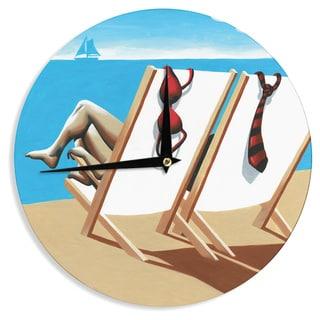KESS InHouse Thomas Fuchs 'Vacation' Beach Wall Clock