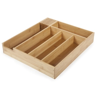 "Core Home 10156 15"" X 13"" X 2 1/2"" Natural Bamboo Deluxe Flatware Tray"