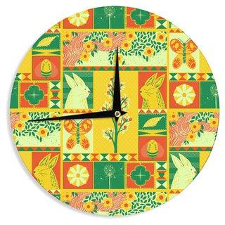 KESS InHouse Tobe Fonseca 'Spring' Yellow Seasonal Wall Clock