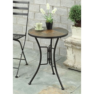 Slate Round Top End Table