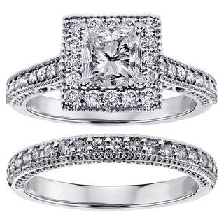 18k or 14k Gold 1 3/4ct TDW Square Halo Princess-cut Diamond Engagement Bridal-set (G-H, SI1-SI2)