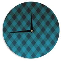 KESS InHouse Matt Eklund 'Deep Current' Blue Pattern Wall Clock