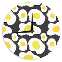 KESS InHouse Vasare Nar 'Fried Eggs Pattern' Yellow Pop Art Wall Clock