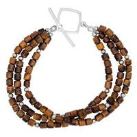 Sterling Silver and Tigers Eye Toggle Bracelet - Brown