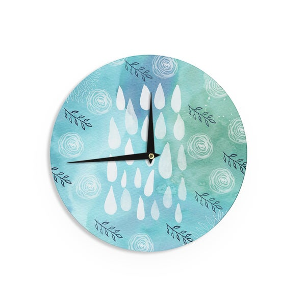 KESS InHouse Li Zamperini 'Rain' Blue White Wall Clock
