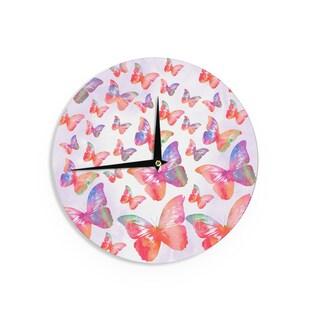 KESS InHouse Li Zamperini 'Butterfly' Pink Lavender Wall Clock