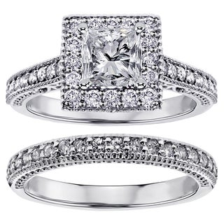 Platinum 1 3/4ct TDW Square Halo Princess-cut Diamond Engagement Bridal-set