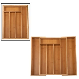 "Core Home FWETL358 14"" X 10"" X 15.35"" X 2"" Bamboo Expandable Flatware Tray"