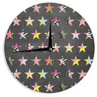 KESS InHouse Louise Machado 'Dancing Stars' Yellow Grey Wall Clock