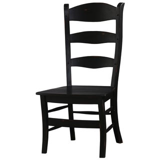 Bramble Co. Peg and Dowel Black Distressed Mahogany Ladder Back Dining Chairs (Set of 2)