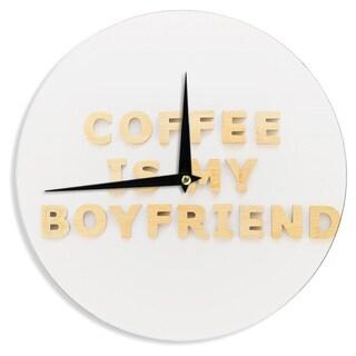 KESS InHouse Kristi Jackson 'Coffee Is My Boyfriend' Typography Beige Wall Clock