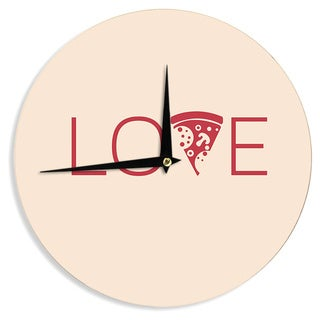 KESS InHouse KESS Original 'Slice of Love' Tan Red Wall Clock