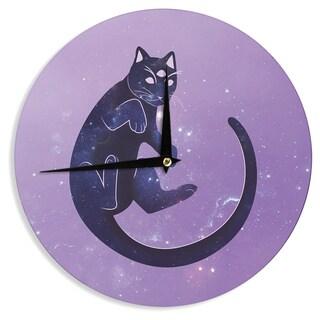 KESS InHouse KESS Original 'Cosmic Kitten' Celestial Animal Wall Clock