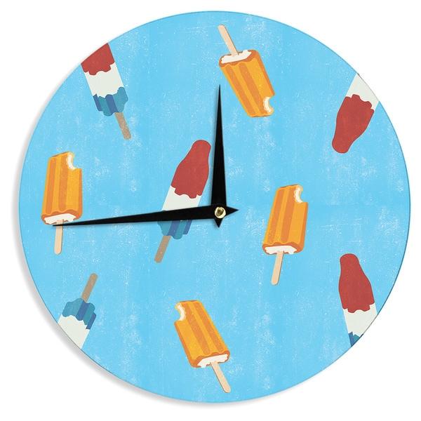 KESS InHouse KESS Original 'Feels like Summer' Orange Food Wall Clock