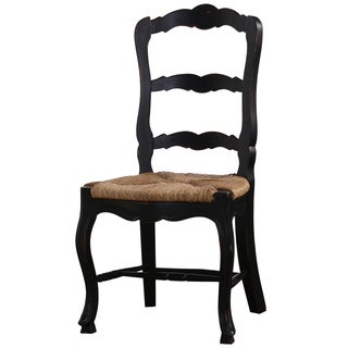 Bramble Co. Provincial Black Distressed Mahogany Dining Chair Set (Set of 2)