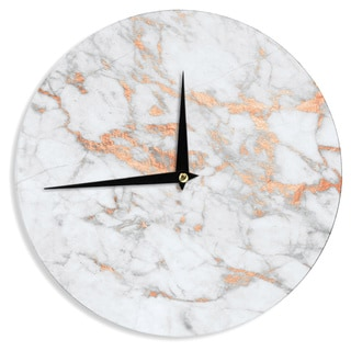 KESS InHouse KESS Original 'Rose Gold Flake' White Pink Wall Clock