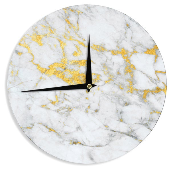 KESS InHouse KESS Original 'Gold Flake' Marble Metal Wall Clock - 12""