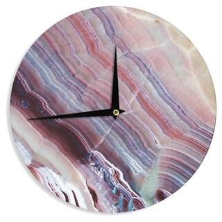 KESS InHouse KESS Original 'Sunrise Agate' Pink Purple Wall Clock