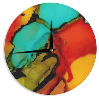 KESS InHouse Abstract Anarchy Design 'Caldera #1' Teal Red Wall Clock