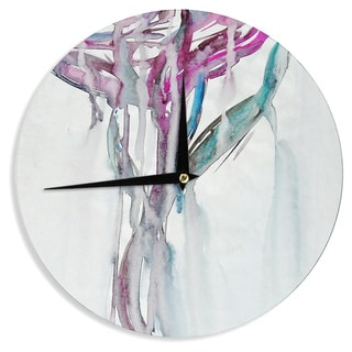 KESS InHouse Malia Shields 'Lovely Watercolor Flower' Megenta Floral Wall Clock