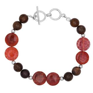 Silver Toggle Bracelet with Fire Agate and Bronzite Beads.