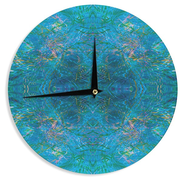 KESS InHouse Nikposium 'Clearwater' Blue Teal Wall Clock