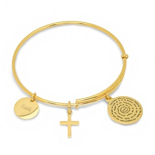 Gold-Pated Stainless Steel Religious Charm Bracelet