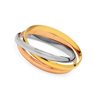 18k Goldplated Stainless Steel White/Yellow/Tri-color intertwined Bangle Bracelets