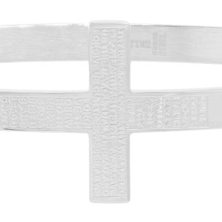 """Piatella Ladies Stainless Steel """"Our Father"""" Cross Bangle in 3 Colors"""
