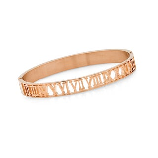 18k Goldplated Stainless Steel Roman Numeral Design Bangle