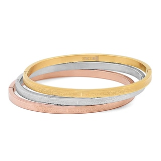 Set of 3 Stainless Steel Tri Color Bangles