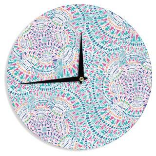 KESS InHouse Miranda Mol 'Kaleidoscopic White' Aqua Abstract Wall Clock