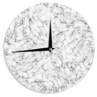 KESS InHouse Will Wild 'Marble' White Gray Wall Clock