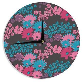 KESS InHouse Zara Martina Mansen 'Berry Color Bouquet' Teal Pink Wall Clock