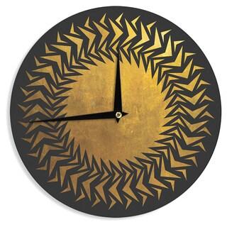 KESS InHouse Matt Eklund 'Gilded Chaos' Gold Geometric Wall Clock