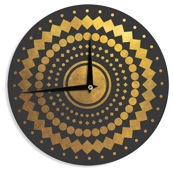 KESS InHouse Matt Eklund 'Gilded Confetti' Gold Geometric Wall Clock