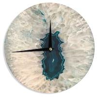 KESS InHouse Sylvia Cook 'Aqua Quartz' Geological White Wall Clock