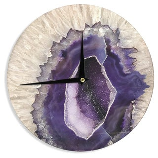 KESS InHouse Sylvia Cook 'Purple Quartz' Lavender White Wall Clock