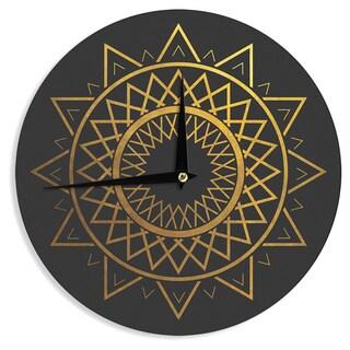KESS InHouse Matt Eklund 'Gilded Sundial' Gold Black Wall Clock