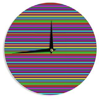 KESS InHouse Trebam 'Kolor' Multicolor Stripes Wall Clock