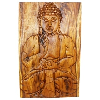 Buddha Panel Sakyamuni Seated 20 in x 30 H Hand Carved Walnut Oil Haussmann (Thailand)