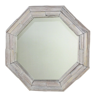 Handmade Mirror NE Teak Octagon Branch 34 in DIA (26 x 26) Agate Grey Oil (Thailand)