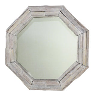 Handmade Mirror NE Teak Octagon Branch 34 in DIA (26 x 26) Agate Grey Oil (Thailand) - White