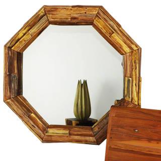 Handmade Mirror NE Teak Octagon Branch 34 in DIA (26 x 26) Tung Oil (Thailand)